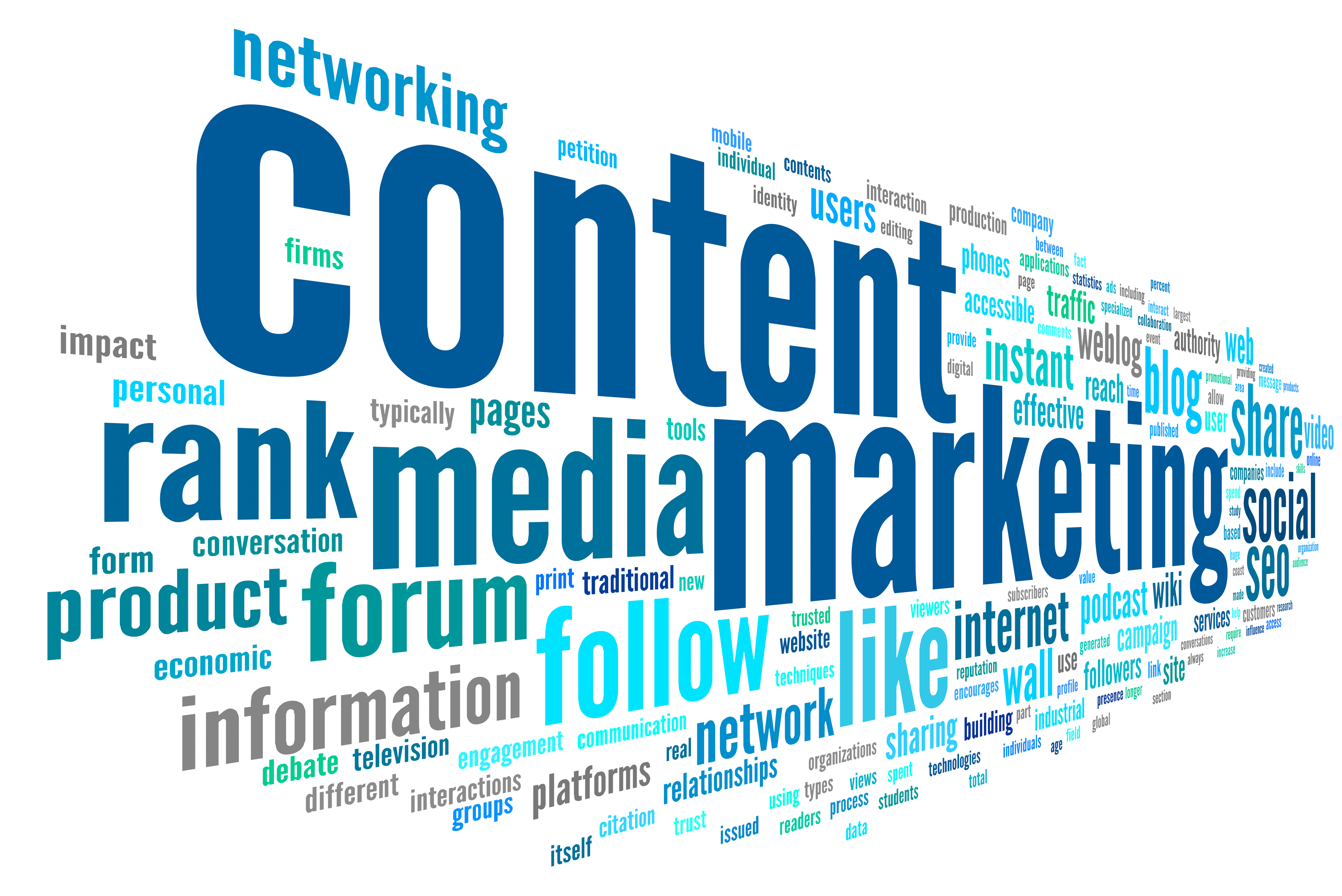 Content marketing concept in word tag cloud on white background